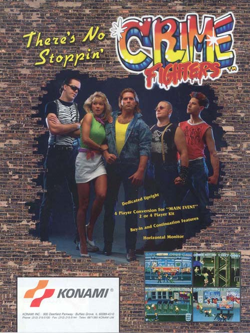 Crime Fighters - Arcade - Beat'n up - 1-4 Jogadores - Konami 1989